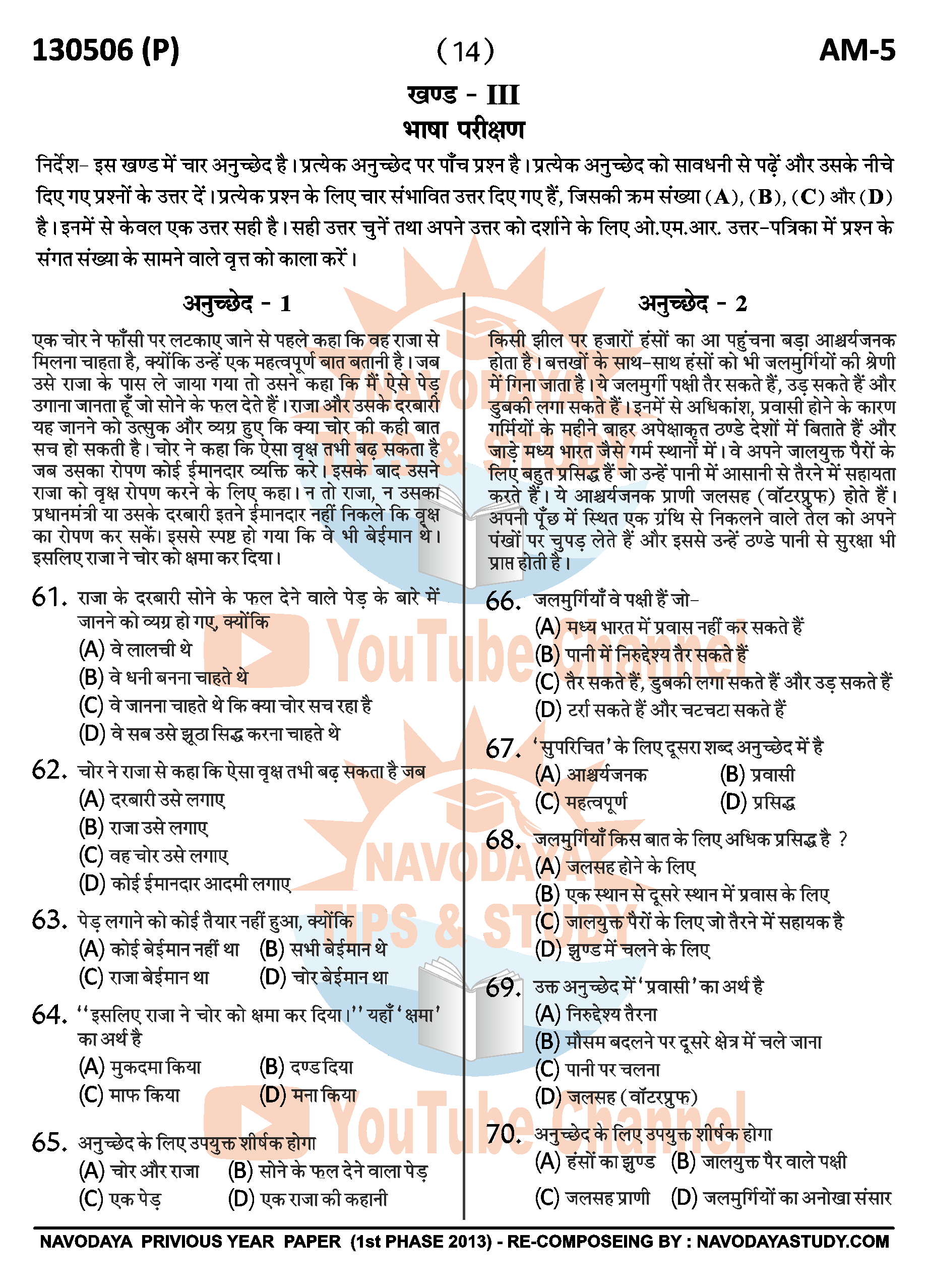 NAVODAYA 2013 AM - 5 HIND OLD YEAR QUESTION PAPER PAGE NO. 14
